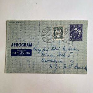 Kristiansund Norway > Brooklyn NY 1951 Aerogramme with letter