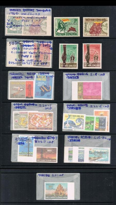 Vietnam 1975 Complete unissued 19 Imperf stamps+4 perf. stamps MNH - Rare