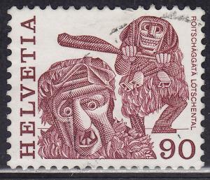 Switzerland 644 USED 1977 Masked men, Lotschental 90c