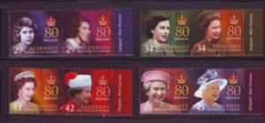 Alderney Sc 269-72 2006 80th birthday QE II stamps mint NH