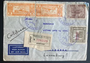 1938 Asuncion Paraguay Airmail Registered Cover To Luxembourg