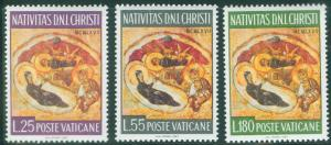 VATICAN Scott 458-460 MNH** 1967 Christmas Nativity set