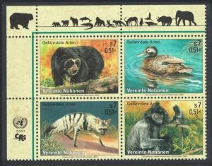 UN Vienna Birds Bear Duck Aardwolf Langur Block of 4v SG#V324-27 MI#327-330