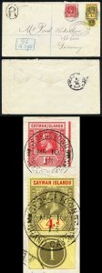 Cayman Is KGV 1d and 4d  on Kiderlen cover Registered marking R4 with GC above