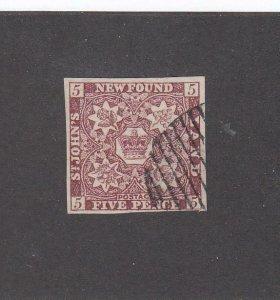 NEWFOUNDLAND (MK6772) # 5 VF-USED 5p 1857 CREST IMPERF /BROWN VIOLET-#2 CV $600