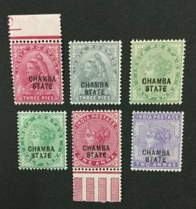 MOMEN: INDIA CHAMBA SG #22-27 MINT OG NH LOT #193938-2361
