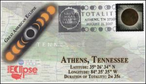 17-224, 2017, Total Solar Eclipse, Athens TN, Event Cover, Pictorial Cancel,
