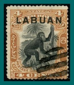 Labuan 1900 Orang-utan, Brown, cancelled #96,SG112