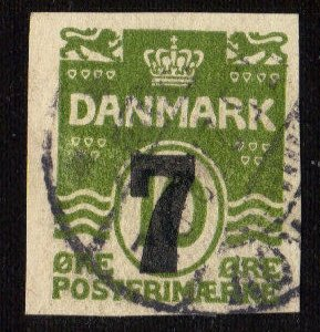DENMARK MICHEL #S28 USED CUT FROM POSTAL STATIONARY 7 ORE ON 10 ORE GREEN
