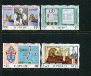 St. Vincent MNH 595-8 Centenary Diocese Of Windward Island 1977