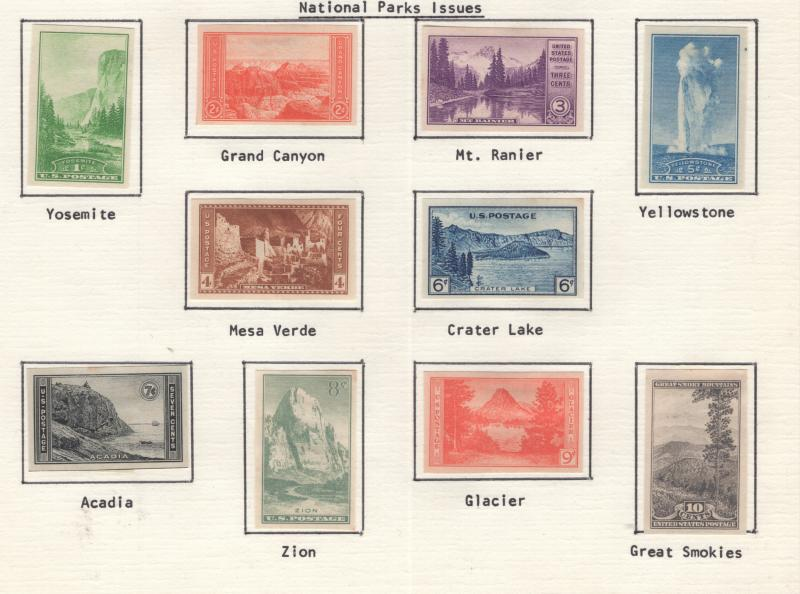 US 1935 National Parks Issues Set 10 Stamps Scott 756 - 765 MH