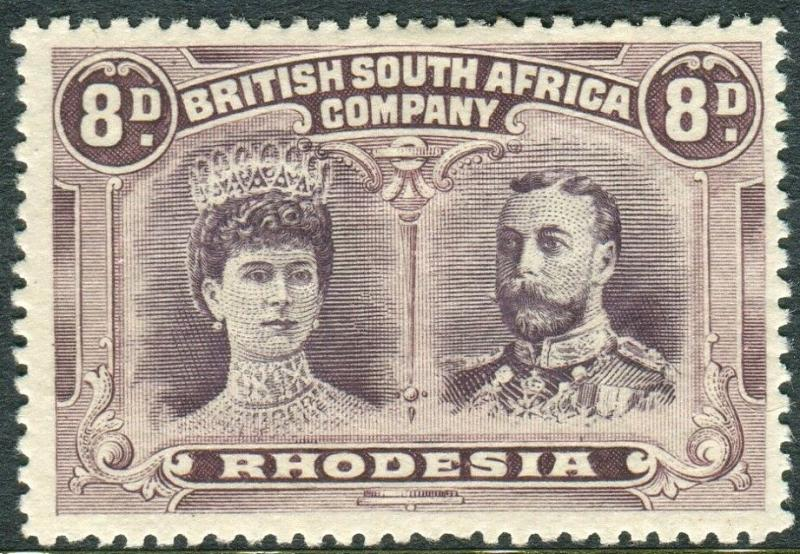 RHODESIA-1910-13 8d Dull Purple & Purple.  A mounted mint example Sg 147