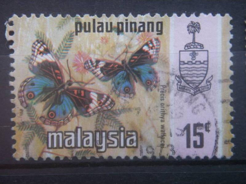 PENANG, 1971, used 15c, Butterfly, Scott 79