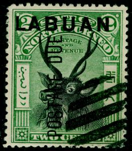 LABUAN SGD1, 2c black & green, FINE USED.