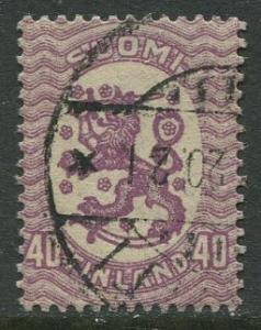 Finland - Scott 94- Arms of Republic -1917- Used - Single 40p Stamp