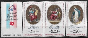 1989 France 2143-5 Revolution 200th Anniv. MNH strip of 3 with label