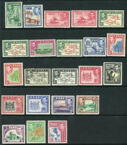 FIJI-1938-55  A lightly mounted mint set to £1, some toned gum Sg 249-266b