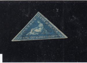 CAPE OF GOOD HOPE # 4 VF-USED  4d  HOPE SEATED/ BLUE  CAT VALUE $85