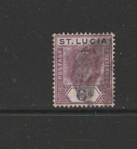 St Lucia 1904/10 6d Purple & violet Heavily Used SG 72/a