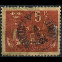 SWEDEN 1924 - Scott# 197 Stockholm's Skyline 5o Used