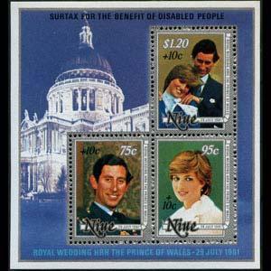 NIUE 1981 - Scott# B55 S/S Royal Wedding NH