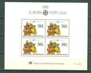 PORTUGAL 1988 EUROPA-MAIL TRANSPORT. #1735a SOUV. SHEET MNH...$10.00
