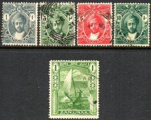 1914 Zanzibar Sg 261/270 Short Set of 5 Values Fine Used