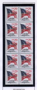 United States Sc 2594a 1993 29 c Flag Pledge stamp booklet pane mint NH