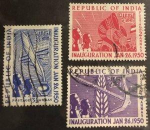 India Scott#227-229 VF Used Inauguration 1950 Issue Cat. $3.45