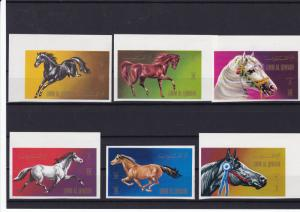 umm al qiwain mint never hinged imperf horses stamps ref r13803
