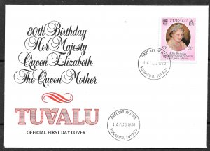 TUVALU 1980 Queen Mother's 80th Birthday Issue Sc 137 Cachet FDC