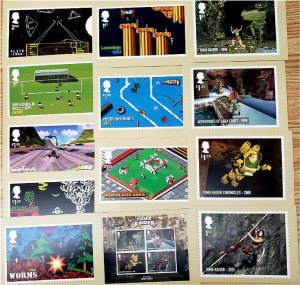 HERRICKSTAMP GREAT BRITAIN Sc.# 3928-35, 3936 Video Games PHQ Cards