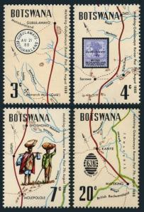 Botswana 88-91,91a sheet,MNH. Mafeking-Gubulawayo Trail,runner post,1972.Map.