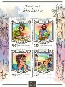 Niger - 2015 John Lennon - 4 Stamp Sheet - 14A-553