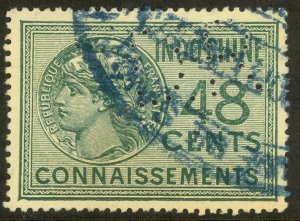 FRENCH INDO-CHINA 1911 48c CONNAISSEMENTS REVENUE w PERFIN VFU