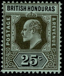 BRITISH HONDURAS EDVII SG100, 25c black/green, VLH MINT.