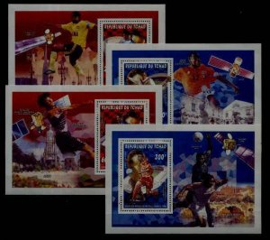 Chad 675-76B, 4 MNH s/s Football-98