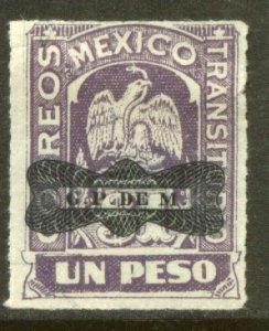 MEXICO 565, $1P TRANSITORIO WITH CORBATA OVERPRINT. MINT, NH. VF.