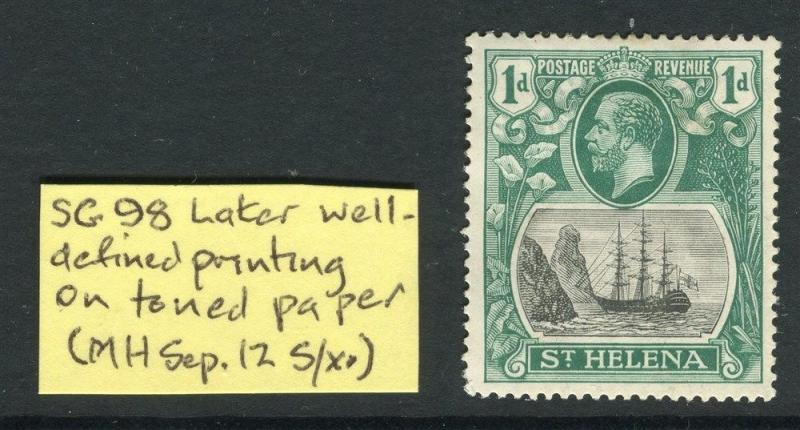 ST.HELENA;  1922-37 early GV issue Mint hinged 1d. value +  VARIETY