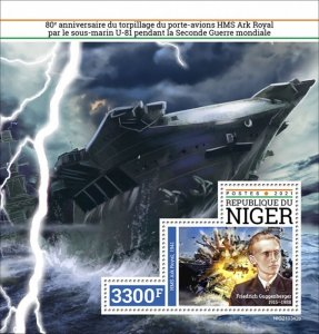 NIGER - 2021 - HMS Ark Royal - Perf Souv Sheet - Mint Never Hinged