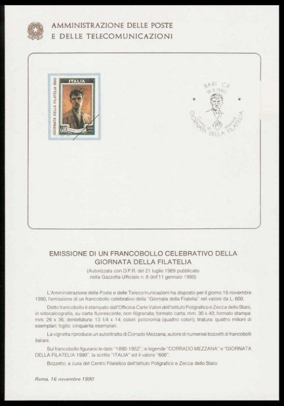 Italy 1990 Stamp Day Ministry of Posts Bulletin