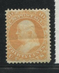 1861 US Stamp #71 30c Mint Original Gum Heavy Crease Fine Catalogue Value $1175