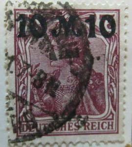A6P44F140 Germany 1921 surch 10m on 75pf used