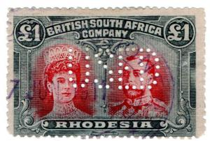(I.B) Rhodesia/BSAC Revenue : Duty Stamp £1 (SG 165)