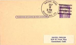 United States Idaho Murray Rur. Sta. Wallace 1961 4-bar  Postal Card  Philate...