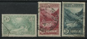 Andorra 1932 30 and 90 centimes and 1 franc used