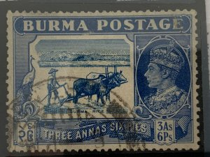 Burma 1938 3a6p.  Used, small crease. See notes! Scott 27 CV $9.50. Gibbons 27