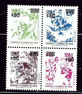Chile 1104 MNH 1994 block of 4 surcharged    (ap2469)