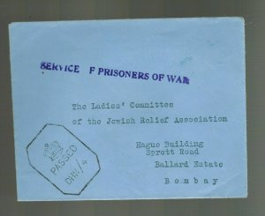 1944 Dehra Dun India POW Internment Camp Cover to Jewish  Relief Associat Bombay