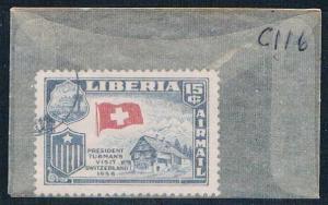 Liberia C116 Used Swiss flag 1958 (L0631)